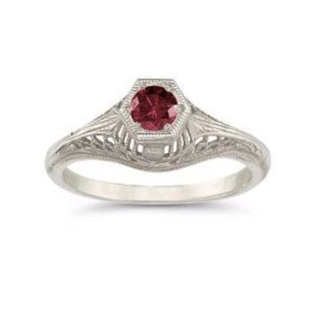 Vintage Art Deco Ruby Ring in .925 Sterling Silver