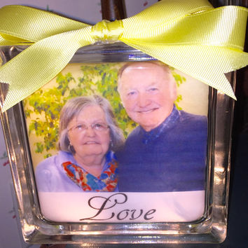 Personal Photo Lighted Glass Block, Home Glass Decor and Gifts