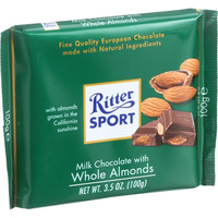 Ritter Sport Chocolate Bar - Milk Chocolate - Whole Almonds - 3.5 Oz Bars - Case Of 11