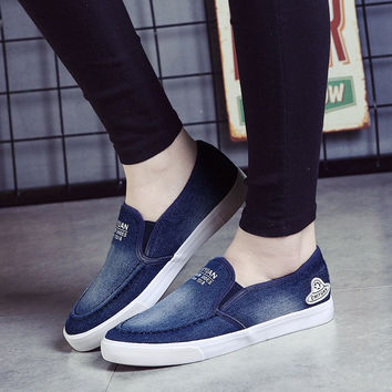 Denim Casual Canvas Leisure Solid Breathable Student Shoes