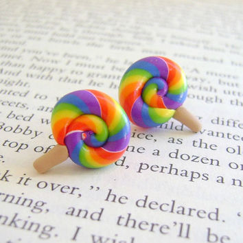 Polymer Clay Lollipop Earrings by Emariecreations on Etsy