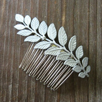 Laurel Haircomb - Metallic Silver Leaf Fern Branch on Silver Comb - Woodland Bridal Vintade Art Nouveau Gift