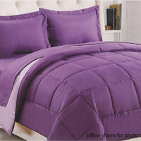 """Kate Elegance Sound Sleepers 1-Piece Twin Size (66"""" x 86"""") Reversible Solid Comforter - Purple/Lavender"""