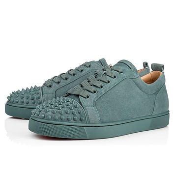 Sale Christian Louboutin Cl Louis Junior Spikes Men's Flat Everest/everest Mat Suede 18s Shoes 1180051u265