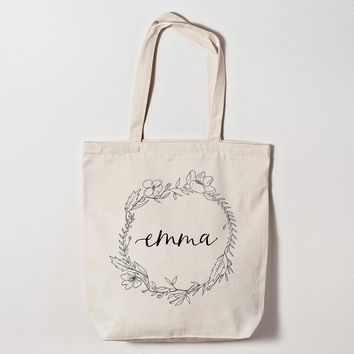 Personalized Floral Calligraphy Bridesmaid Tote