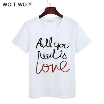 WOTWOY Summer Sequin Tops Tees Woman Funny Letter Embroidery T Shirt Women Black White O-Neck Cotton T-Shirt Femme 2018 New