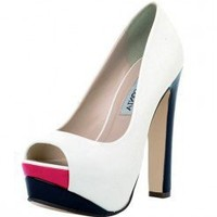 WHITE FUN COLORBLOCK PATENT PLATFORM @ KiwiLook fashion