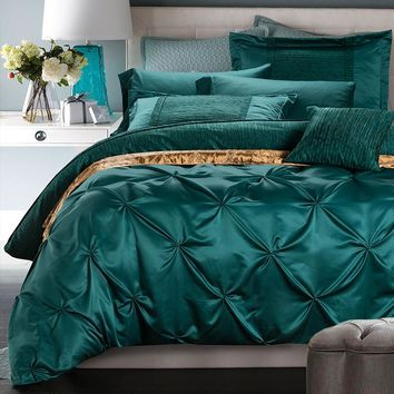 4/6Pcs Silk Cotton Luxury Bohemia Bedding sets King Queen Size Solid Color Duvet cover  Bedsheet Pillowcases Christmas Gift
