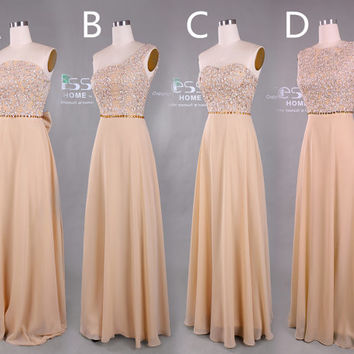 New Design 2015 champagne Prom Dress/Champagne Long chiffon bridesmaid dress/Long Chiffon Party Dress/Backless Formal Dress under 200 DH408