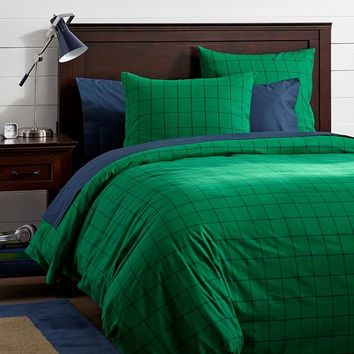 Boxter Duvet Cover + Sham, Bright Green/Navy