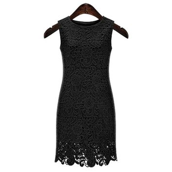 Sexy Round Neck Sleeveless Solid Color Cut Out Women's Lace Dress