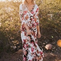 """Charlie"" Floral Print Wrap Maxi Dress"