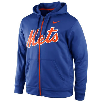 Nike New York Mets KO Wordmark Full Zip Performance Hoodie - Royal Blue