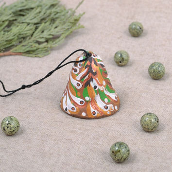 Ceramic handmade bell painted with acrylics homemade art ceramics gift ideas