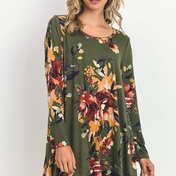 Miles From Home Dress - Olive Floral