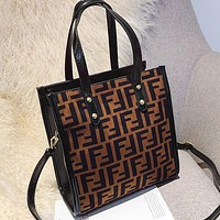 FENDI Fashionable Women Shopping Bag Leather Handbag Tote Shoulder Bag Crossbody Satchel Coffee