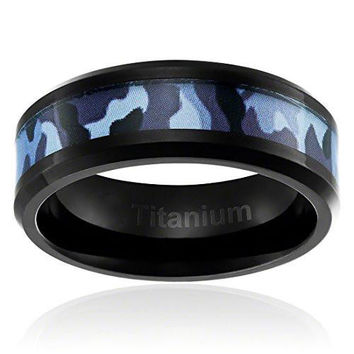8MM Comfort Fit Titanium Camo Ring Black Plated Wedding Band with Blue Military Camouflage Inlay Beveled Edges | FREE ENGRAVING