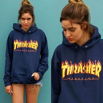 Thrasher Fashion Unisex Hip-Hop Flame Letter Print Long Sleeve Hoodie Sweater Sweatshirt Top Blue
