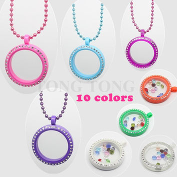 Pink Free Matching Colored Chain!! 30mm Magnetic Closure Acrylic Czech Crystals Floating Charm Locket Living Locket Photo Locket