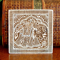 Indian Elephant Stamp: Hand Carved Square Printing Block, Textile or Pottery Stamp, Lucky Elephant Feng Shui Symbol, Wall Hanging, Decor