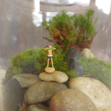 Look Ma No Bra...Terrarium People Funny Miniature Scene Tiny Naked Lady Terrarium Accessory Funny Gift Miniature Flasher
