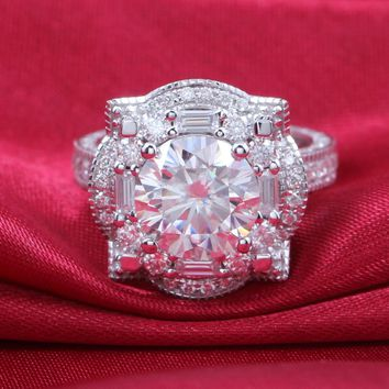 Transgems 14K White Gold 4.6CTW Carat Lab Grown Moissanite Wedding Engagement Rings Solid  Lab Diamonds Accents Woman Band