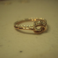 rose gold and silver double love knot, glitter ring, infinity knot, wedding band, engagement, promise ring, band
