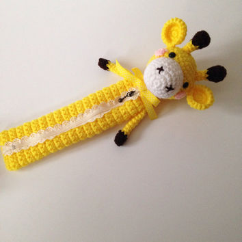 Amigurumi Giraffe Crochet Giraffe Bag Pencil Case Cosmetic Pouch Kids Bag School Supply Girls Accessories Kawaii Girls Stuff Gifts for Her