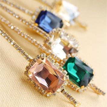 New Fashion Korea Hair Accessories Rhinestone Acrylic Gem Barrettes for Women Hair Clips