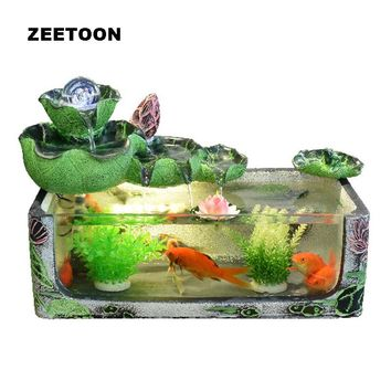 Glass Fish Tank Crystal Ball Water Fountain Feng Shui Desktop Rockery Lotus Adornment Lucky Business Gift Creative Home Decor