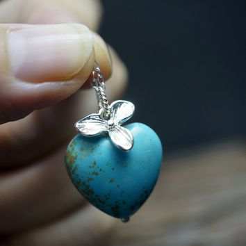 Natural Turquoise Pendant - Genuine Turquoise Heart Pendant, Tiny Silver Orchid Flower Pendant - Chunky Turquoise Necklace Children Jewelry