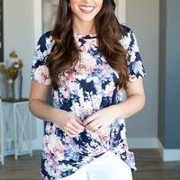 Place For Us Floral Twist Knot Top