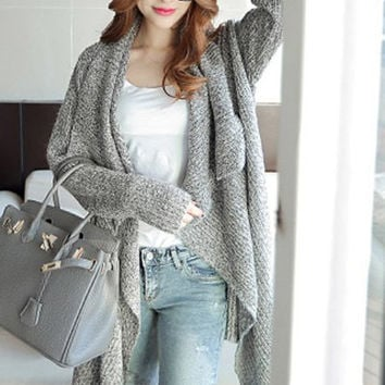 Gray Turn-Down Collar Asymmetrical Long Sleeve Cardigan