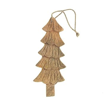 Hanging Wood Slim Tree Christmas Ornament, Natural, 5-3/4-Inch