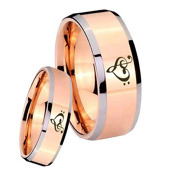 His Hers Rose Gold Beveled Music & Heart 2 Tone Tungsten Wedding Rings Set