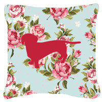 Dachshund Shabby Chic Blue Roses   Canvas Fabric Decorative Pillow BB1088
