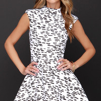 Cameo Daydreaming Black and Ivory Print Dress