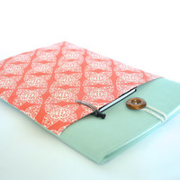 iPad Case, iPad Air Case, iPad Sleeve, iPad Cover Case, Coral and Seafoam Tablet Case, Padded With Pocket