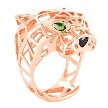 Plain 14k Rose Gold Finish Green Eyes Panther Ring