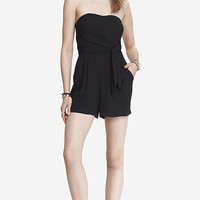 BLACK TIE FRONT CREPE ROMPER from EXPRESS