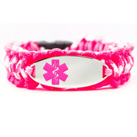 Personalized Thin Kids Medical Alert ID Paracord Bracelet w/ Oval Stainless Steel Engraved ID Tag - Pink Medical Symbol