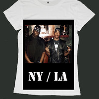NY LA big notorious tupac biggie smalls screen print women t shirt ety184w