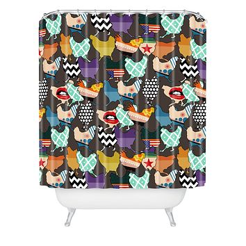 Sharon Turner Cincinnati Chickens Shower Curtain