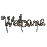 "Rustic Rope ""Welcome"" Wall Decor Sign With Hooks"