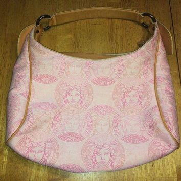 Vintage VERSACE Medusa Hand Tote Bag Purse Pink White Beige Canvas Leather
