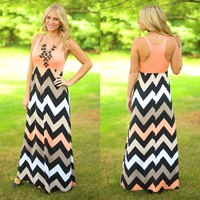 Two Pina Coladas Chevron Maxi Dress
