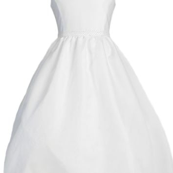 Organza Overlay Girls Communion Dress Back V-Neck w. Shawl Collar 7-14