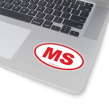 Mississippi MS Euro Oval Sticker RED