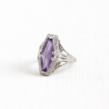 Vintage 10k White Gold Art Deco Simulated Amethyst Ostby & Barton Ring - Size 5 Flower Filigree 1920s Purple Glass Fine OB Jewelry