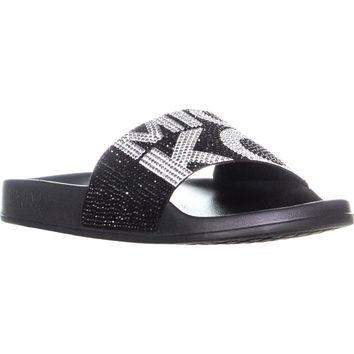 MICHAEL Michael Kors Gilmore Slide Sandals, Black/Optic White, 7 US / 37 EU